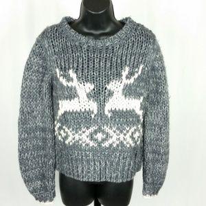 Free People Sweater S/P Gray White Wool Deer NWOT